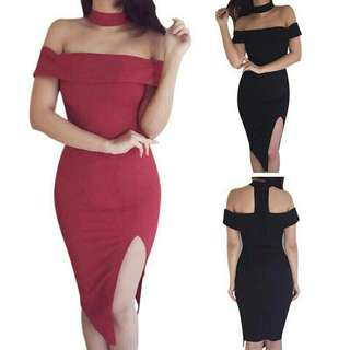*FREE DELIVERY to WM only / Pre Order 12-14 days* Ladies slash neck off shoulder sexy dress each as shown design/color.   Free delivery is applied for this item.