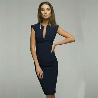 *FREE DELIVERY to WM only / Pre Order 12-14 days* Ladies v collar pencil dress each as shown design/color.   Free delivery is applied for this item.