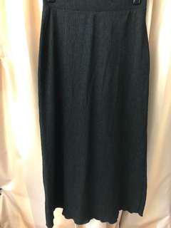 Pull & Bear 黑色彈性橡筋腰半身裙 長裙