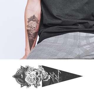Temporary Tattoo Temp Tattoos Skull Skeleton Triangle Third Eye Stay Strong Dark Art
