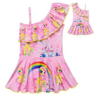 *FREE DELIVERY to WM only / Pre Order 12-14 days* Kids pony 1 piece gal swimwear each as shown design/color.   Free delivery is applied for this item.