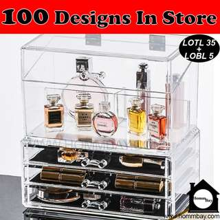 Makeup Make up Organizer Clear Acrylic Transparent Cosmetic Jewellery Jewelry Organiser Organizer Drawer Storage Box Holder (LOTL 35 + LOBL 5)