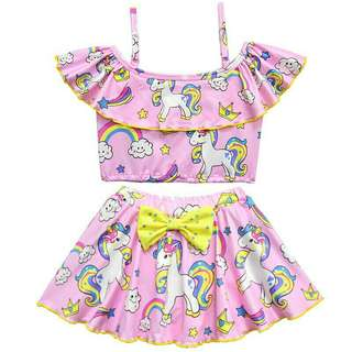 *FREE DELIVERY to WM only / Pre Order 12-14 days* Kids 2piece unicorn swimwear each as shown design/color.   Free delivery is applied for this item.
