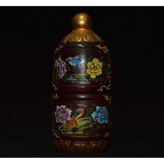 清晚期 古琉璃製 手絵花鳥紋 金鍍 鼻煙壺 恭王府底款