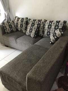 L Sofa 3&2 seater Bahan Kanvas Abu