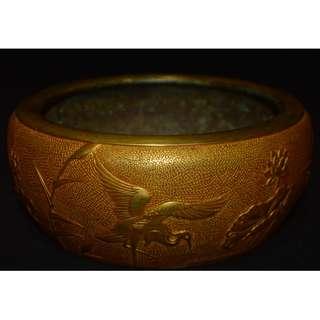 友人館蔵精品 銅鋳金鍍 白鷺荷花紋 香炉 宣德五年吴邦佐造 底款