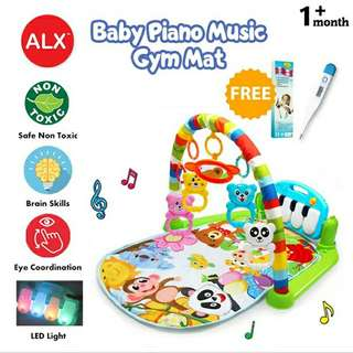 FREE POS Ready Stock Colourful Kids Soft Fabric Musical Piano Toy LED Light Baby Play Mat