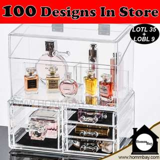 Makeup Make up Organizer Clear Acrylic Transparent Cosmetic Jewellery Jewelry Organiser Organizer Drawer Storage Box Holder (LOTL 35 + LOBL 9)