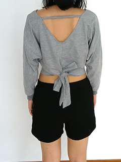 Korean Gray Ribbon Top