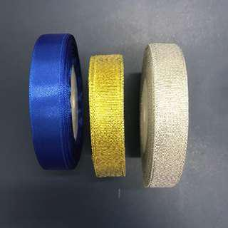 Blue/Gold/Silver Ribbons (1.5cm)
