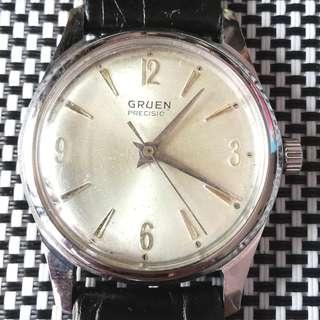 60年代Gruen Precision古董錶,原裝面,369字釘,無番寫,17石上鏈機芯,巳抹油,行走精神,錶頭33mm不連錶的,錶耳18mm,淨錶,有意請pm