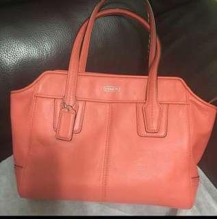 Coach Leather Orange Crossbody Bag / Hand Bag(Two-Way)