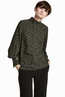 H&M Blouse with Stand Up Collar