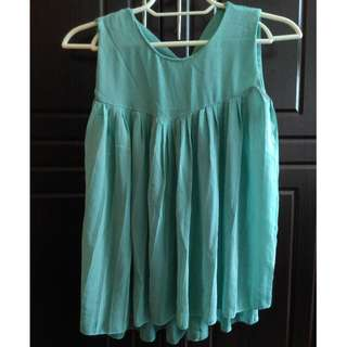 Mint Pleated Sheer Blouse
