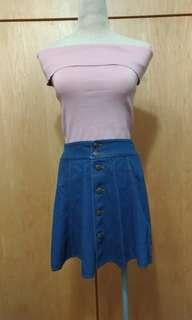 🚚 深藍-一片裙扣子牛仔短裙