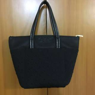 TORY BURCH FLEMING SMALL TOTE QUILTED BLACK NYLON HOBO BAG