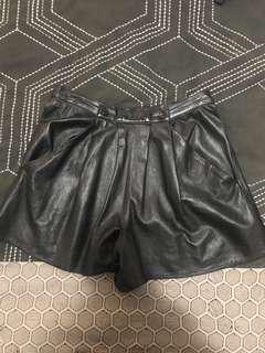 Leather black baggy shorts