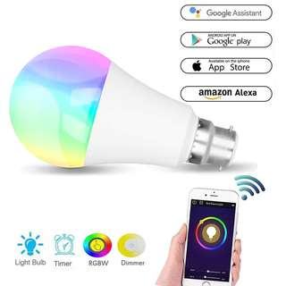 1506. Wifi Smart Led Light bulb,Compatible With Alexa Google Home IFTTT Smart Home Automation Dimmable Warm White B22 light bulb RGBW Color Changing Mood Light