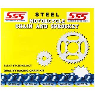 SSS - Steel Motorcycle Chain and Sprocket Kit Set