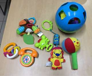 assorted baby toys rattle shape sorter