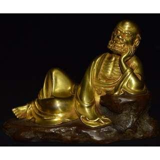 拜佛結縁 銅鋳金鍍 達磨祖師冥想像 佛像 永樂年施底款 供養品