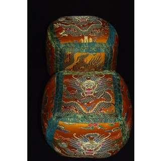 藏友館藏品 錦布刺繡龍紋 枕頭