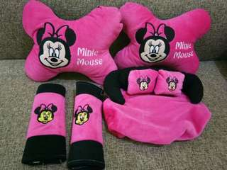 Car set bantal leher mickey mouse pink