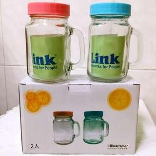 🚚 限量搶購↘$55元↘英國Karrimor 玻璃梅森瓶 享樂罐梅森杯 可醃製、擺飾、水果飲、沙拉罐、儲物罐吸管瓶470ML