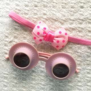 [Set] Girls' Pink Headband and Novelty Sunglasses