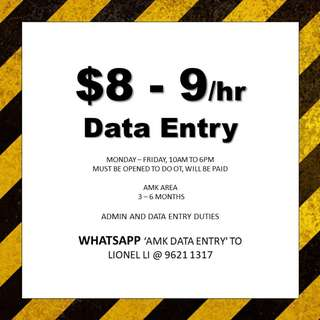 Temp data entry // min 3 months // immediate // work with friends
