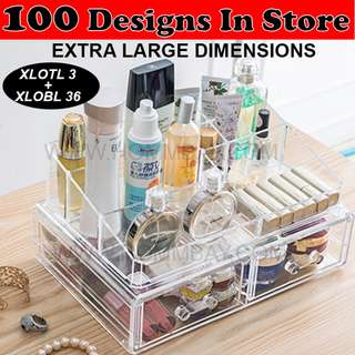 Makeup Make up Organizer Clear Acrylic Transparent Cosmetic Jewellery Jewelry Organiser Organizer Drawer Storage Box Holder (XLOTL 3 + XLOBL 36)