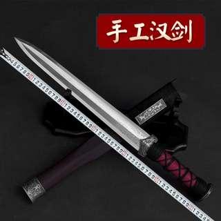 Short Knife Not Edged ShortSword 短刀八面手工花纹钢短剑(未开刃)#561