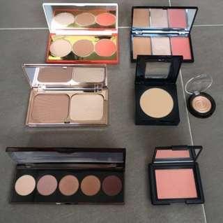 Assorted Eyeshadow and Face Palettes (NARS, BECCA, Charlotte Tilbury, Maybelline, Sonia Kashuk, Make Up Revolution, Laura Geller)