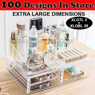 Makeup Make up Organizer Clear Acrylic Transparent Cosmetic Jewellery Jewelry Organiser Organizer Drawer Storage Box Holder (XLOTL 3 + XLOBL 38)