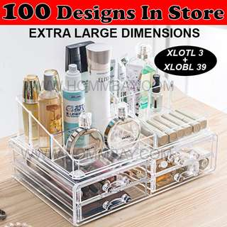 Makeup Make up Organizer Clear Acrylic Transparent Cosmetic Jewellery Jewelry Organiser Organizer Drawer Storage Box Holder (XLOTL 3 + XLOBL 39)
