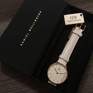 Daniel Wellingtons DW Bondi 32mm Watch (White) 白色皮帶金色框