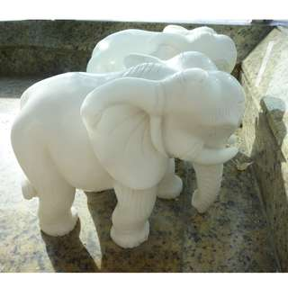 白玉象一雙 pair of white jade elephants