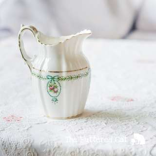 RESERVED Lovely antique English china milk jug, pretty pink rose cameo, green bows, wreath garland