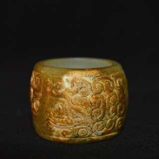 【神獸饕餮指環】 高古玉器 和田玉雕刻 指環扳指