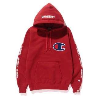 Bape x Champion Red Hoodie