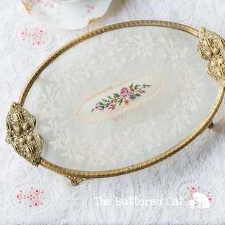 Exquisite vintage vanity tray, dresser tray, beautiful tambour lace, net lace encased in glass