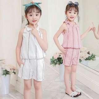 Kids wear stripe top, short terno