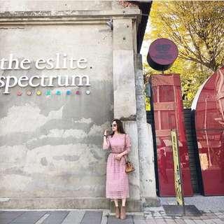 🚚 Beige/Dazzlingdazzlin 小首爾 藕粉色層次透膚洋裝