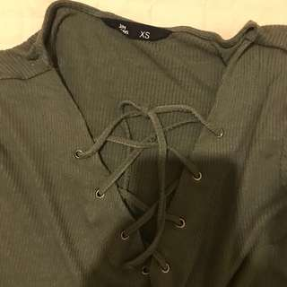 khaki V neck lace up front top