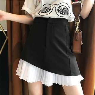 VM 原創 百搭包臀裙黑白撞色假兩件設計 OL氣質高腰A字百褶裙
