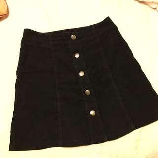 black cord / corduroy mini skirt