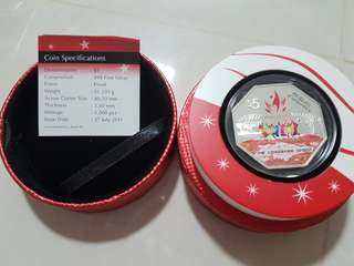 majulah ndp 2011 silver proof colour $5 coin