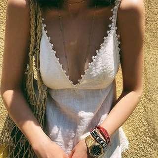 VM 夏 渡假白色立體蕾絲花邊 露美背心機設計感 顯胸V領性感吊帶背心
