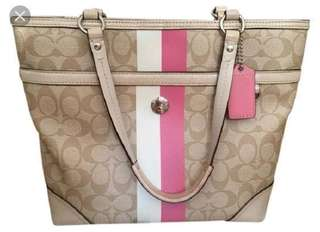 Coach Signature Heritage Stripe Tote, Light Khaki with Pink White Stripes
