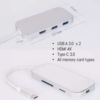 ⭐️USB-C dongle for MacBooks chromebooks with HDMI, USB3.0, memory card reader